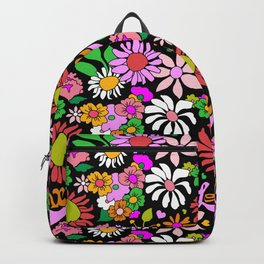 60's Lovers Floral in Black Backpack