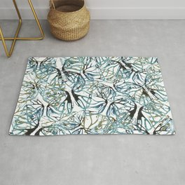 Blue and gold moth cut outs. Rug