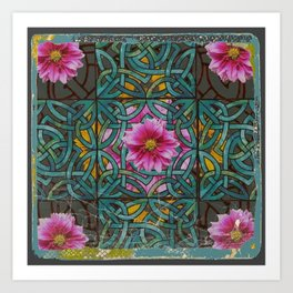 GRUNGY ANTIQUE PINK FLORAL CELTIC PATTERN Art Print