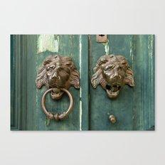 Lion heads of precious metal Canvas Print