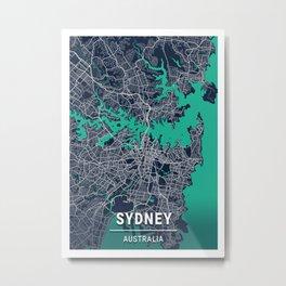 Sydney Blue Dark Color City Map Metal Print