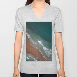 Emerald Copper Foamy Waves Unisex V-Neck