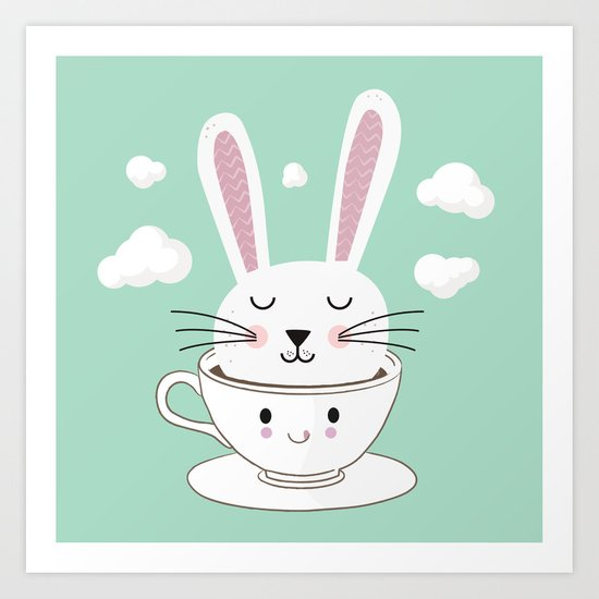 Take a Cup of Bunny Art Print