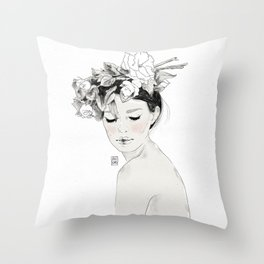 Flowers crown Throw Pillow