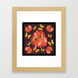 Decorative yellow Butterflies Pink Flowers Puce Framed Art Print