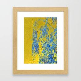 Blue Branch on Gold Framed Art Print