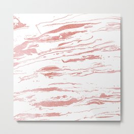 Modern abstract pink marbleized paint. Metal Print