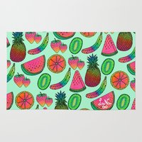 fruits Area & Throw Rugs featuring I ♥ Fruits by Luna Portnoi