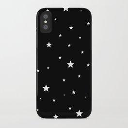 Scattered Stars - white on black iPhone Case