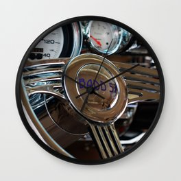 57 Chevy Steering Wheel and Dash Classic Car Photography Wall Clock
