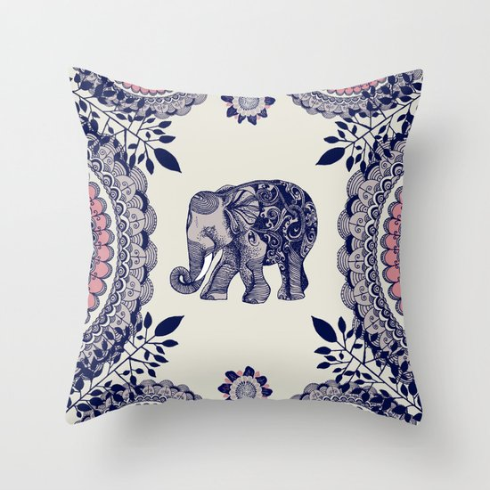Throw Pillow Elephant : Elephant Pink Throw Pillow by Rskinner1122 Society6