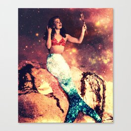 Vintage Mermaid Sparkle Canvas Print