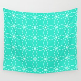 Rhombus Pattern, Turquoise Green Wall Tapestry