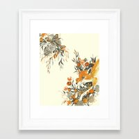 fox Framed Art Prints featuring fox in foliage by Teagan White