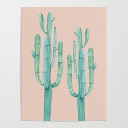 Besties Cactus Friends Turquoise + Coral Poster