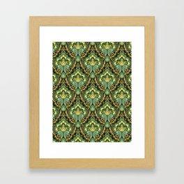 Golden Paisley Damask Framed Art Print