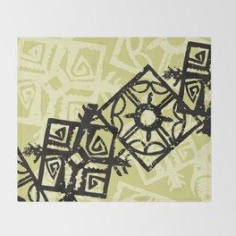 African Pattern, Tribal Motif - Green Black Throw Blanket