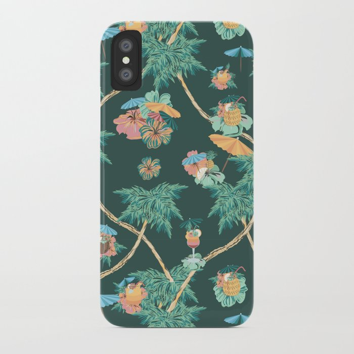 Tropical nights with cocktail pattern iPhone Case