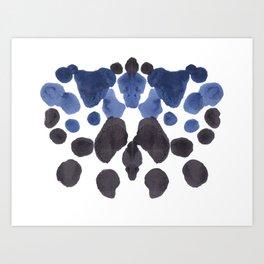 Rorschach Inkblot Diagram Psychology Abstract Symmetry Colorful Watercolor Art Navy Blue Black Art Print