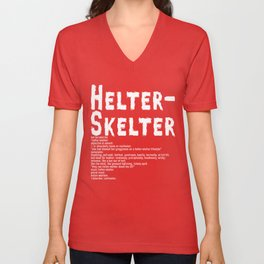 Helter Skelter (white on black) Unisex V-Neck