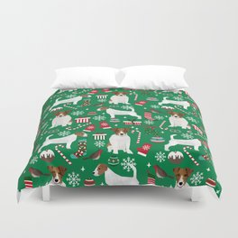 Jack Russell Terrier christmas festive holiday red and green dog lover gifts Duvet Cover