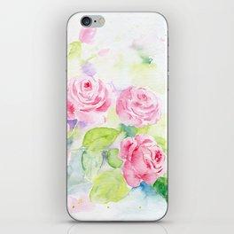 Watercolor Pink Rose Flowers iPhone Skin