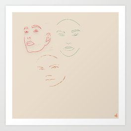 3 Faced! Art Print