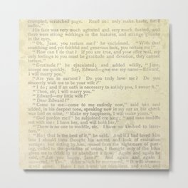Jane Eyre, Mr. Rochester Proposal by Charlotte Bronte Metal Print