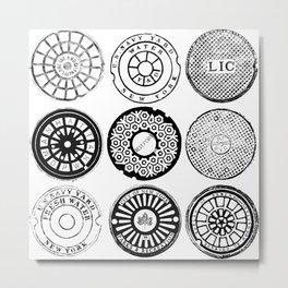 New York City Manhole Covers 3x3 Metal Print