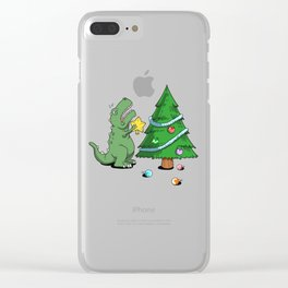 Funny Struggle Is Real Dinosaur Christmas Tree Star Shirt Clear iPhone Case