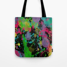 Paint Splatter on Black Background Tote Bag