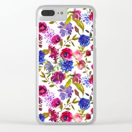 Magenta pink navy blue lilac watercolor floral Clear iPhone Case
