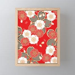 Japanese Vintage Red Black White Floral Kimono Pattern Framed Mini Art Print