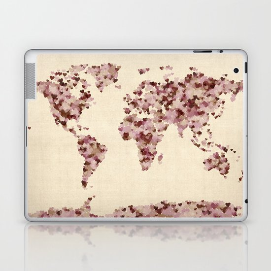 Love Hearts Map of the World Map Laptop & iPad Skin