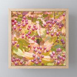 Pattern of red berries Framed Mini Art Print