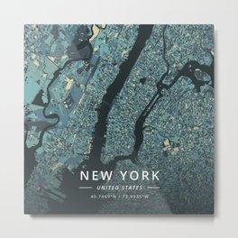 New York, United States - Cream Blue Metal Print