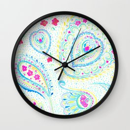 Watercolor Paisley Aqua Wall Clock
