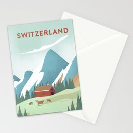 switzerland alps poster Stationery Cards