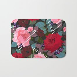 Triangles With Vintage Red Pink Roses and Chocolate Cosmos Flower Pattern Bath Mat
