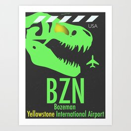 BZN Bozeman Yellowstone airport code Art Print