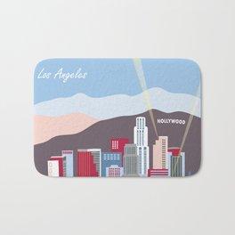 Los Angeles, California - Skyline Illustration by Loose Petals Bath Mat