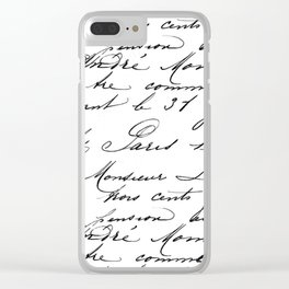 Antique French Script Clear iPhone Case