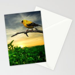Little yellow bird in the green field Stationery Cards