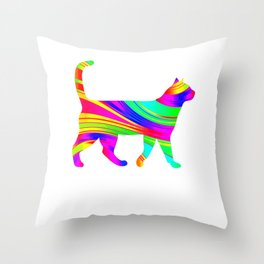 Rainbow Square Cat Inverted 3 Throw Pillow