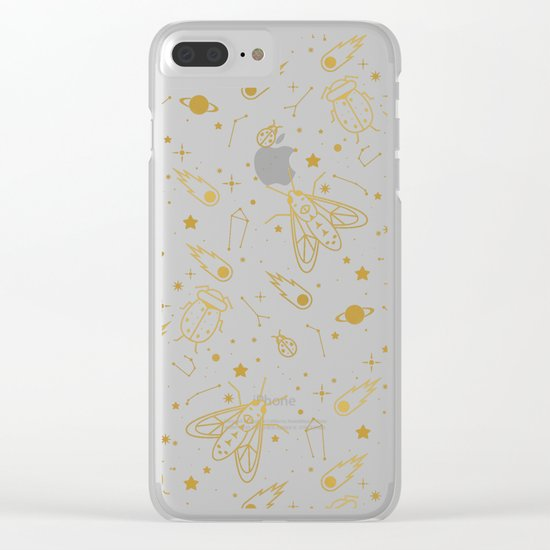 Golden Celestial Bugs Clear iPhone Case