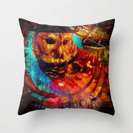 bohemian owl Throw Pillow