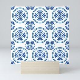 Chinaware seamles pattern blue and white Mini Art Print