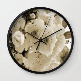 Cherry Blossoms Monochrome Wall Clock