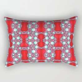 Psychedelic Bone Mind Bending Red and Blue Pattern Rectangular Pillow