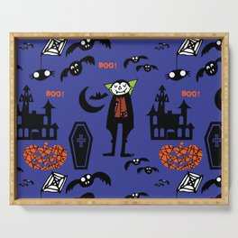 Cute Dracula and friends blue #halloween Serving Tray